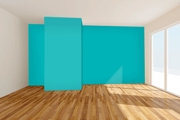 Pretty Photo frame on Shiny Teal color Living room wal color