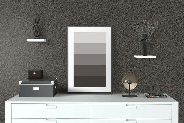 Pretty Photo frame on Night Brown Black color drawing room interior textured wall