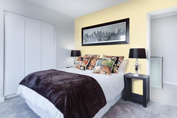 Pretty Photo frame on Fresh Banana color Bedroom interior wall color