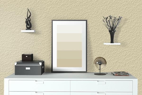 Pretty Photo frame on Fresh Banana color drawing room interior textured wall