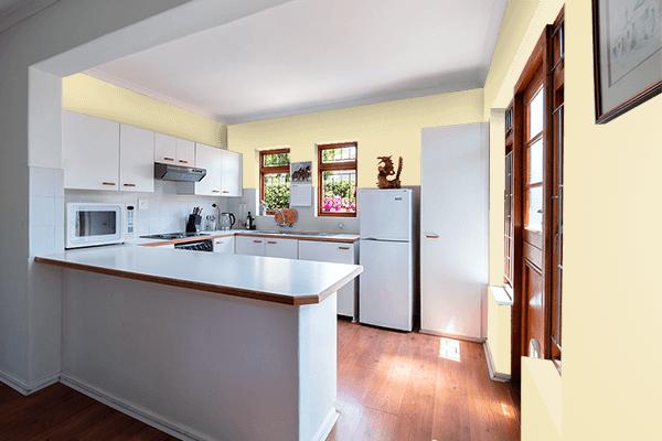 Pretty Photo frame on Fresh Banana color kitchen interior wall color