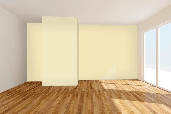Pretty Photo frame on Fresh Banana color Living room wal color