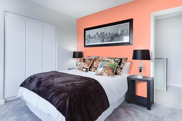 Pretty Photo frame on Bright Salmon color Bedroom interior wall color