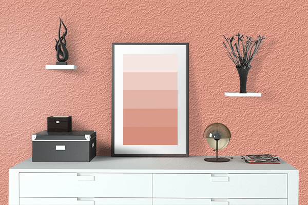 Pretty Photo frame on Bright Salmon color drawing room interior textured wall