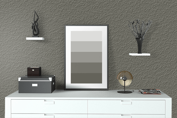 Pretty Photo frame on Dusty Olive (Pantone) color drawing room interior textured wall
