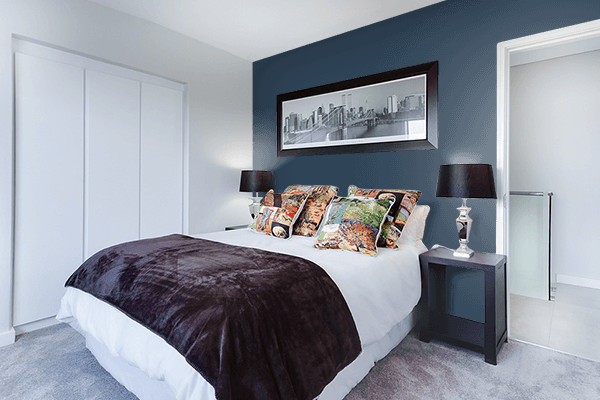 Pretty Photo frame on Charcoal Blue color Bedroom interior wall color