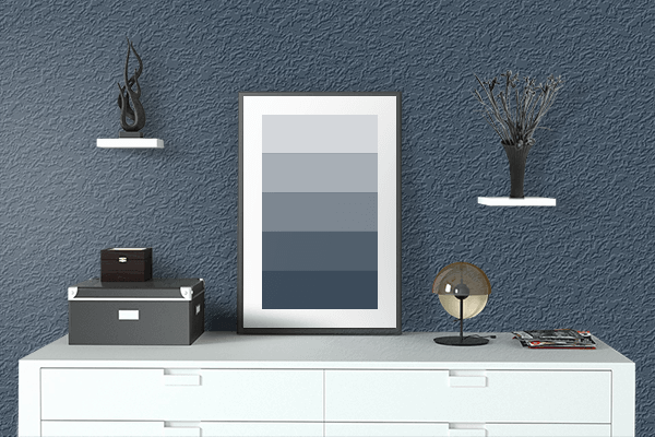 Pretty Photo frame on Charcoal Blue color drawing room interior textured wall