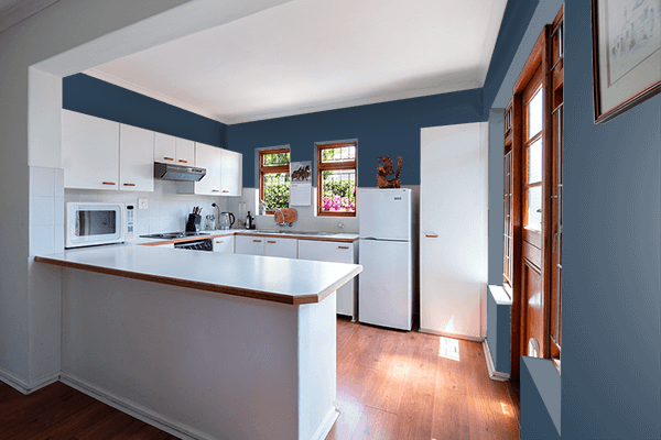 Pretty Photo frame on Charcoal Blue color kitchen interior wall color