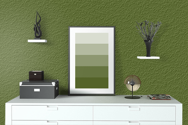 Pretty Photo frame on Pepper Green (RAL Design) color drawing room interior textured wall