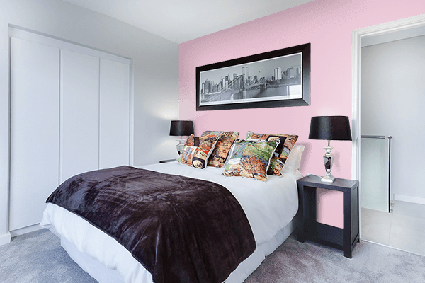 Pretty Photo frame on Pink Shimmer color Bedroom interior wall color