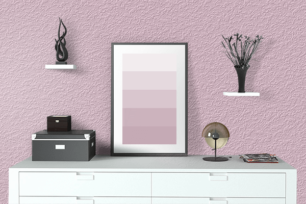 Pretty Photo frame on Pink Shimmer color drawing room interior textured wall