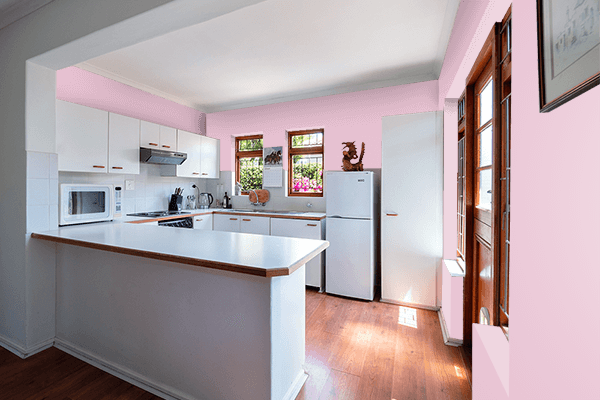 Pretty Photo frame on Pink Shimmer color kitchen interior wall color