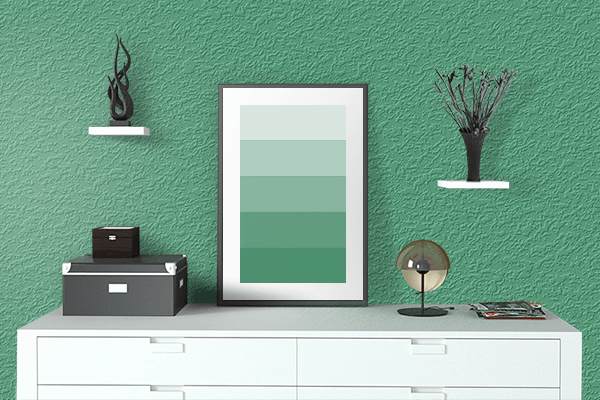 Pretty Photo frame on Hunter Green (RAL Design) color drawing room interior textured wall