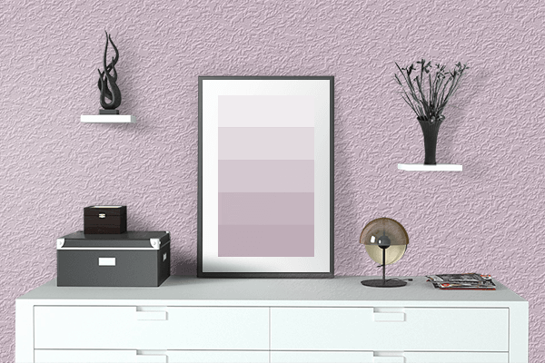 Pretty Photo frame on Lilac Snow color drawing room interior textured wall