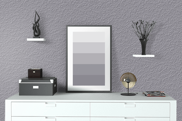 Pretty Photo frame on Mystic Gray color drawing room interior textured wall