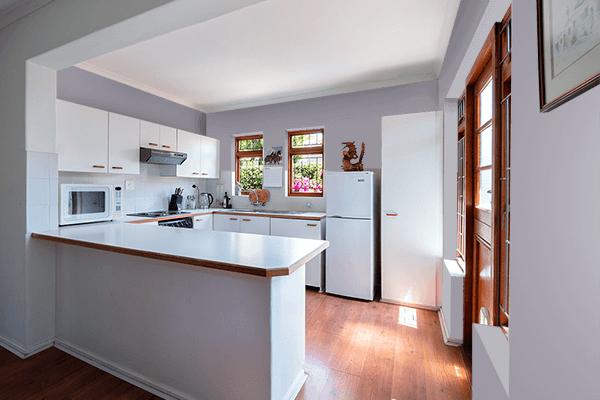 Pretty Photo frame on Mystic Gray color kitchen interior wall color