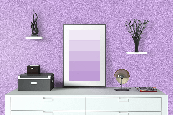 Pretty Photo frame on Mauve color drawing room interior textured wall