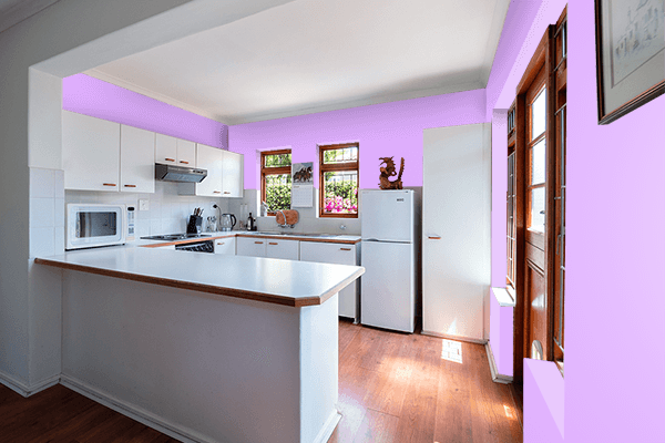 Pretty Photo frame on Mauve color kitchen interior wall color
