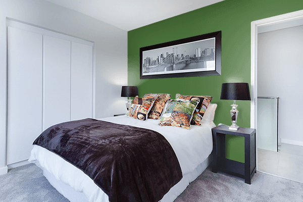 Pretty Photo frame on Grass Green color Bedroom interior wall color