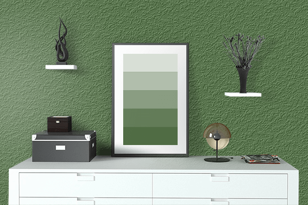 Pretty Photo frame on Grass Green color drawing room interior textured wall