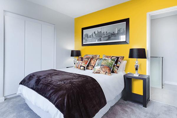 Pretty Photo frame on Dark Gold color Bedroom interior wall color
