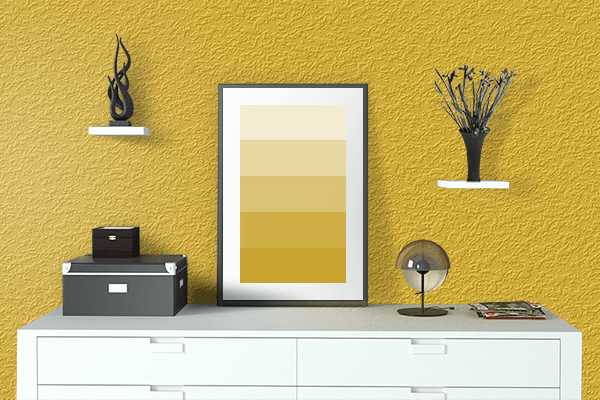 Pretty Photo frame on Dark Gold color drawing room interior textured wall