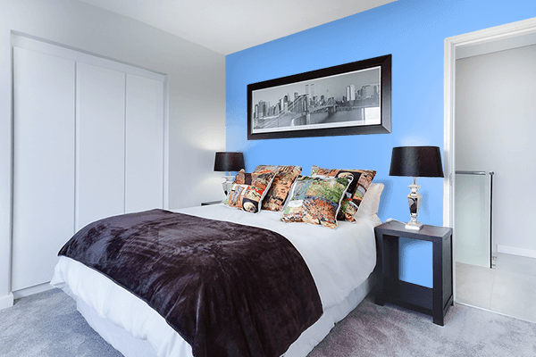 Pretty Photo frame on French Sky Blue color Bedroom interior wall color