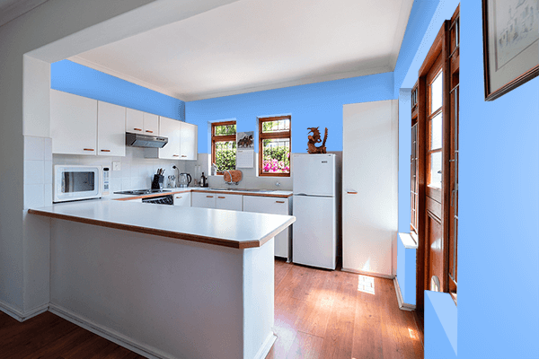 Pretty Photo frame on French Sky Blue color kitchen interior wall color