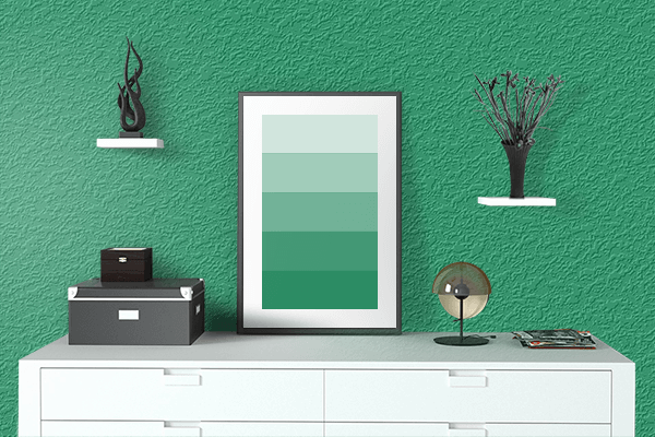 Pretty Photo frame on Irish Green color drawing room interior textured wall