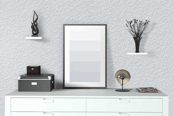 Pretty Photo frame on Alice Blue color drawing room interior textured wall