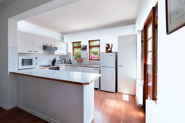 Pretty Photo frame on Alice Blue color kitchen interior wall color