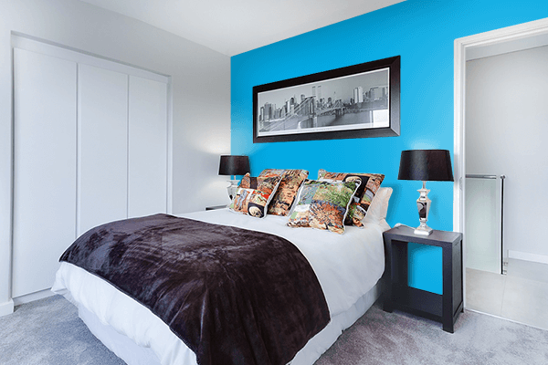 Pretty Photo frame on Spanish Sky Blue color Bedroom interior wall color