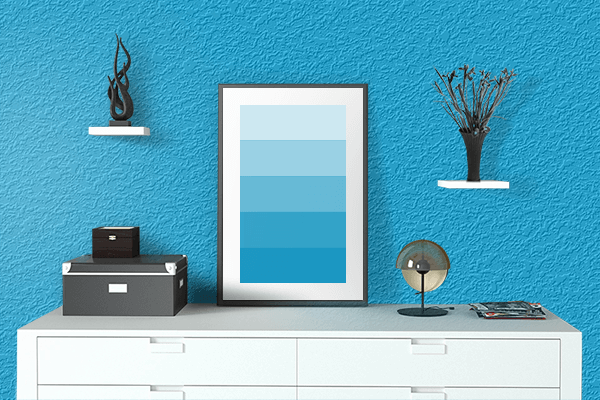 Pretty Photo frame on Spanish Sky Blue color drawing room interior textured wall