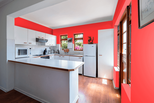 Pretty Photo frame on Light Red (PWG) color kitchen interior wall color