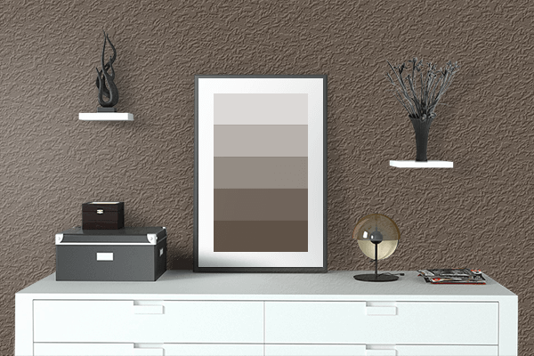 Pretty Photo frame on M&M's Brown color drawing room interior textured wall