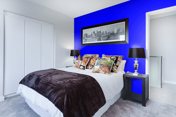 Pretty Photo frame on Blue color Bedroom interior wall color