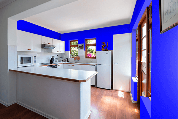 Pretty Photo frame on Blue color kitchen interior wall color