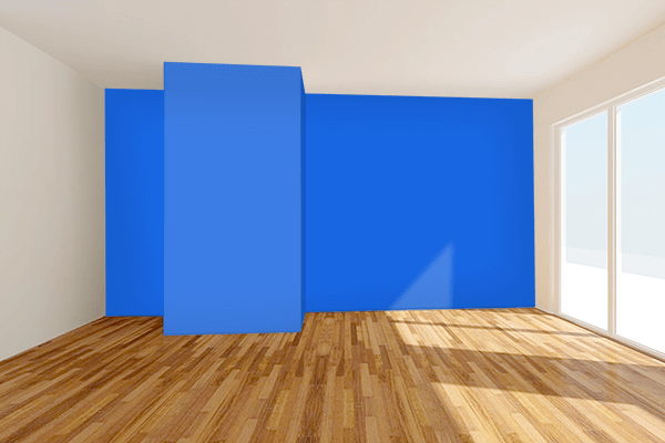 Pretty Photo frame on Royal Azure color Living room wal color