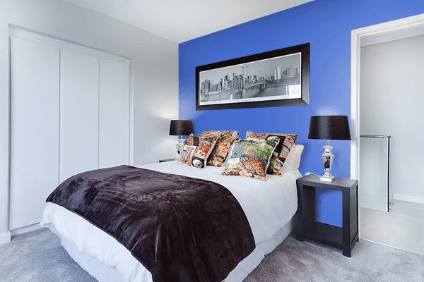 Pretty Photo frame on Chinese Blue color Bedroom interior wall color