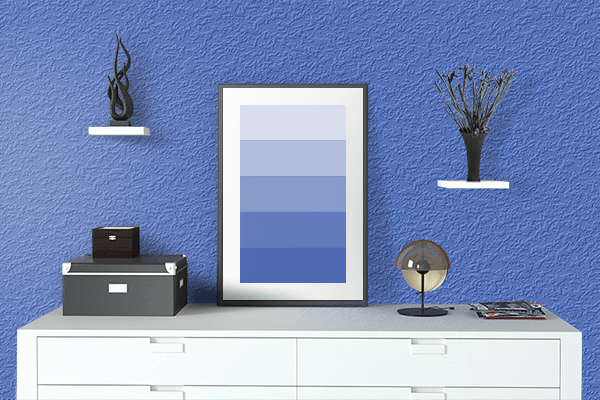 Pretty Photo frame on Chinese Blue color drawing room interior textured wall