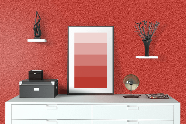 Pretty Photo frame on Hanes Red color drawing room interior textured wall