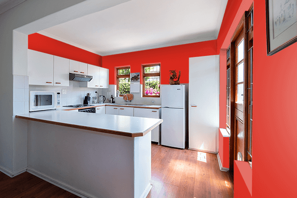Pretty Photo frame on Hanes Red color kitchen interior wall color