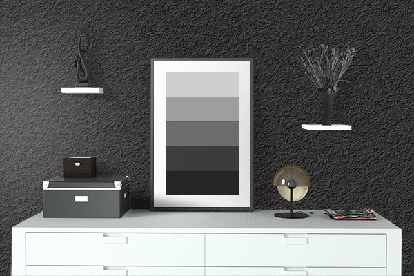 Pretty Photo frame on Soot Black color drawing room interior textured wall
