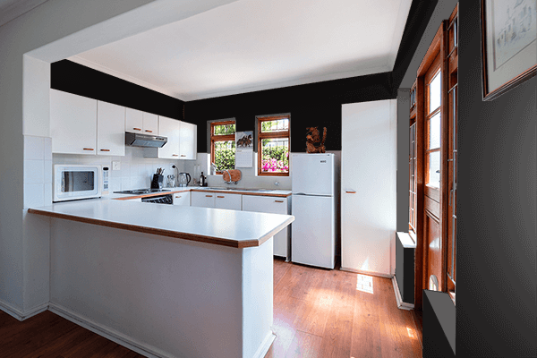 Pretty Photo frame on Soot Black color kitchen interior wall color