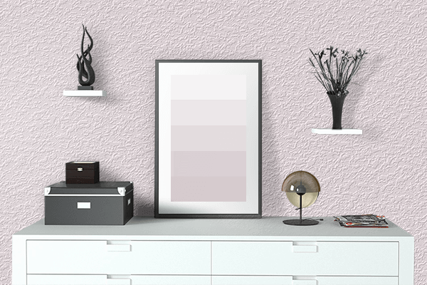 Pretty Photo frame on Lavender Blush color drawing room interior textured wall