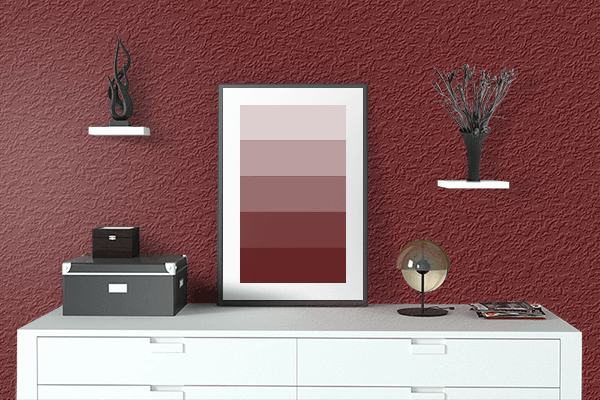 Pretty Photo frame on Royal Maroon color drawing room interior textured wall