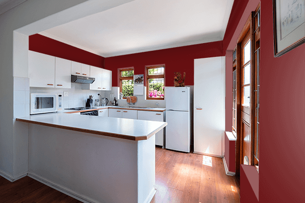 Pretty Photo frame on Royal Maroon color kitchen interior wall color