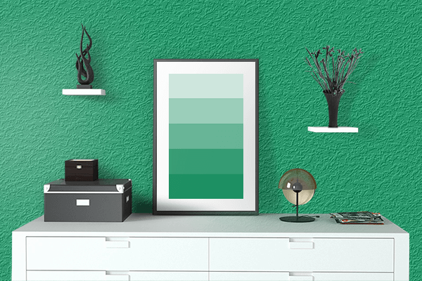 Pretty Photo frame on Matrix Green color drawing room interior textured wall