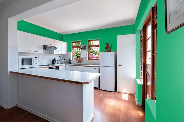 Pretty Photo frame on Matrix Green color kitchen interior wall color