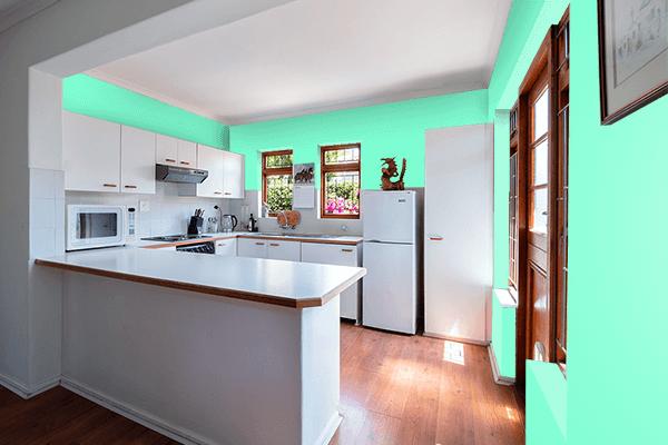 Pretty Photo frame on Aquamarine color kitchen interior wall color